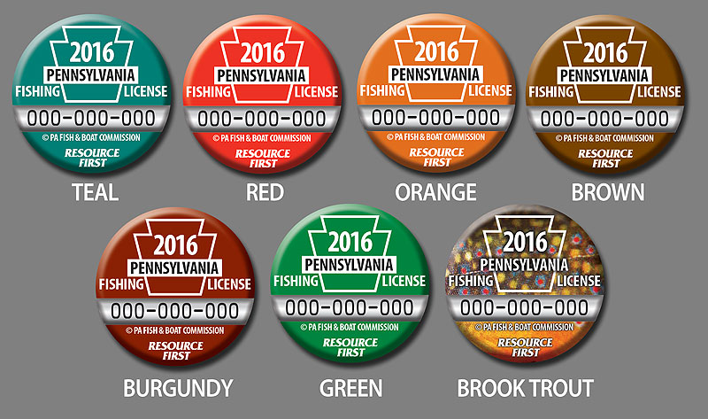 2016 PA Fishing License Button Color Options