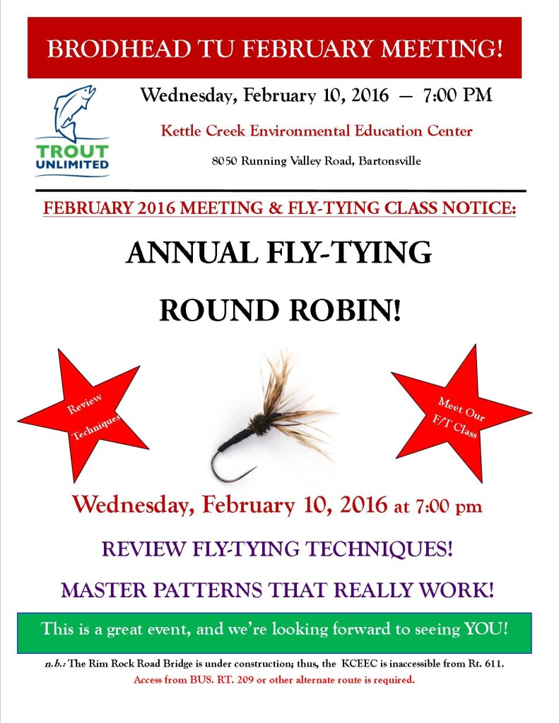 February 2016 Brodhead Chapter of Trout Unlimited Meeting Flyer