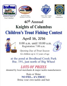 2016 Knights of Columbus Fishing Contest flyer